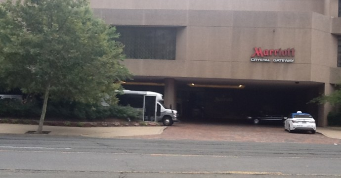 Crystal Gateway Marriott Entrance, DCA Airport Parking location, Long Term Parking