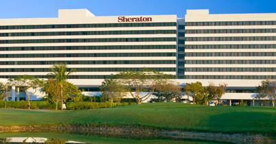 Exterior view of the sheraton miami airport, mia parking.